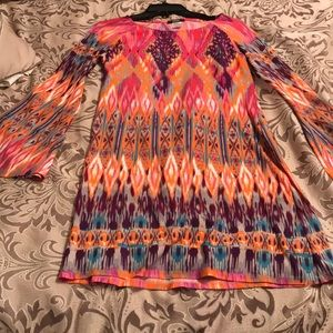 Multicolor Dress - Long Sleeve and Mid Thigh